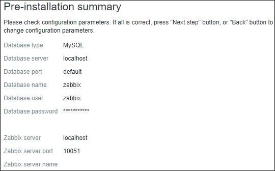 Zabbis Installation Summary