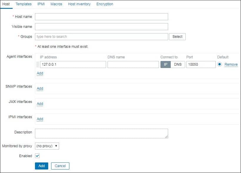 Zabbix Add Host