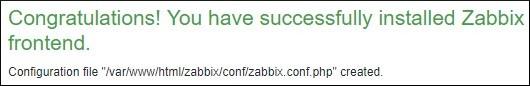Zabbix installation finished